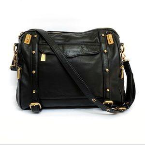 Rebecca Minkoff black gold leather shoulder bag